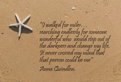 beach and quote